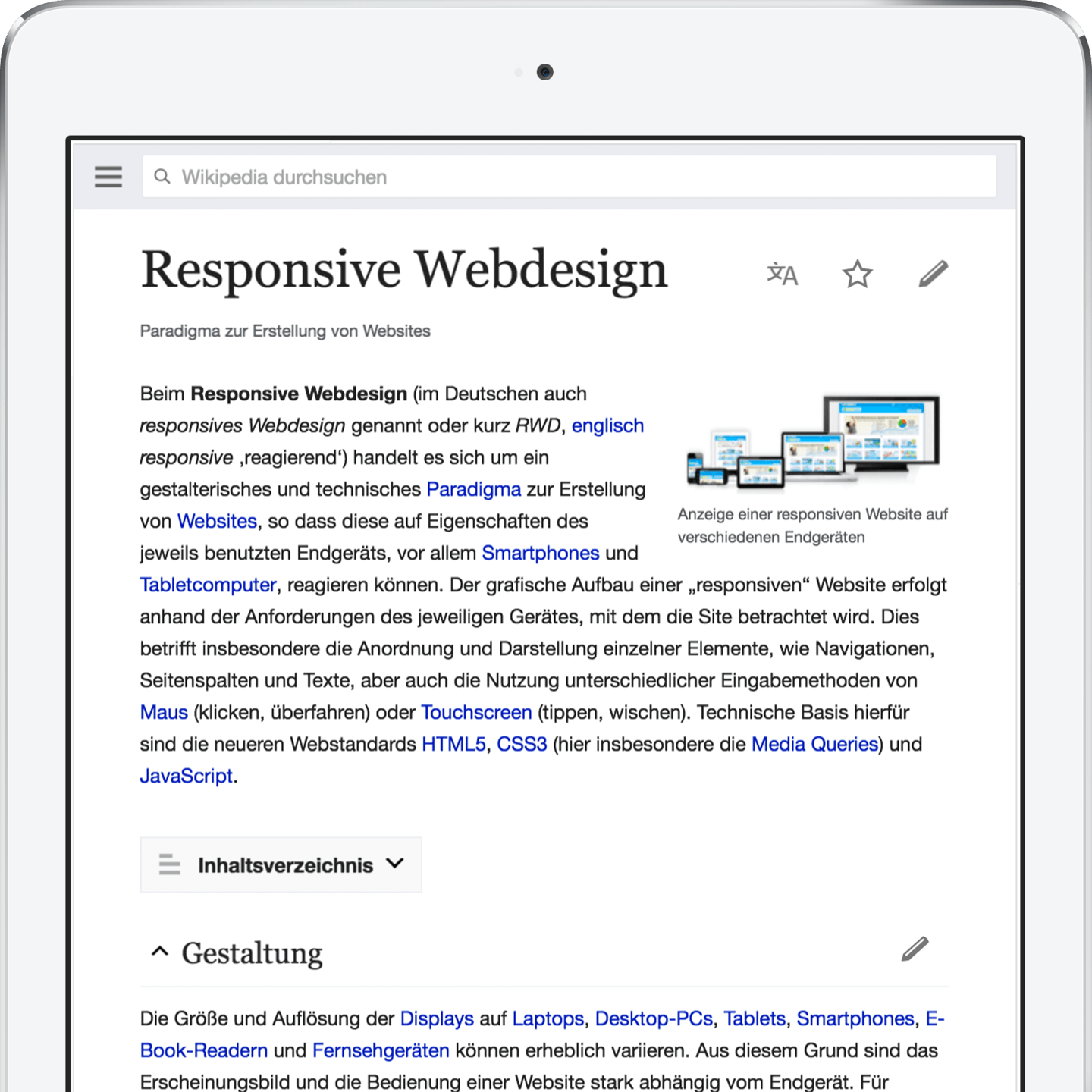 Responsive Webdesign Beispiel am Apple iPad